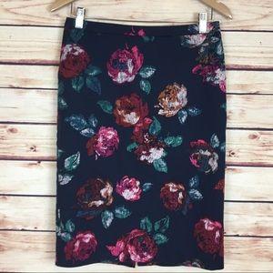 Merona Floral Pencil Skirt Roses Knee Length 6